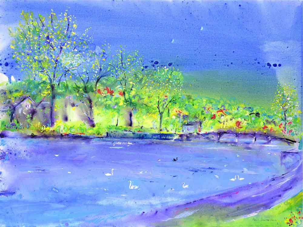 River Wharfe, unframed original painting