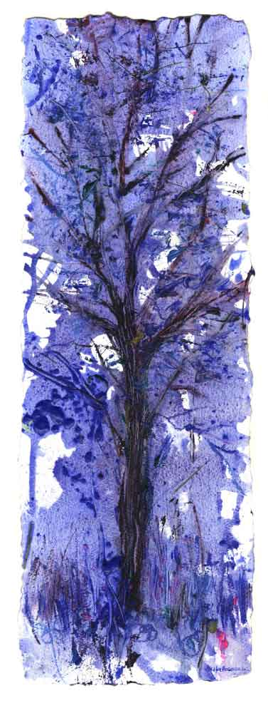 Royal Blue Tree, unframed original painting