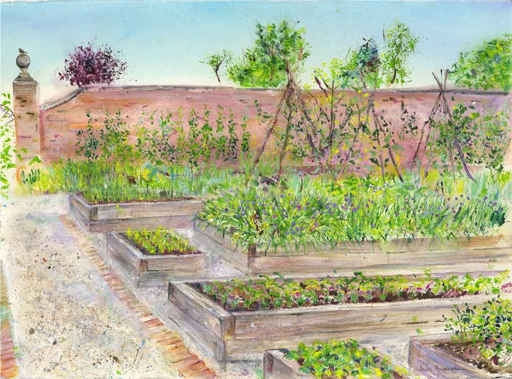 Rudding Park Kitchen Garden, unframed original painting