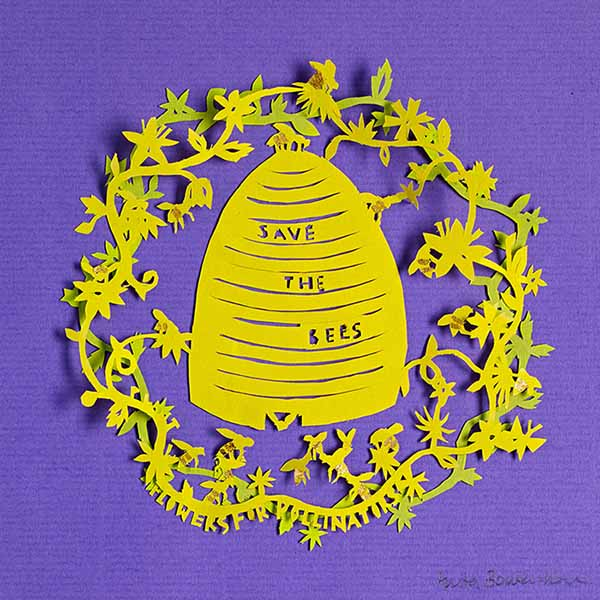 Save the Bees, unframed original paper cut