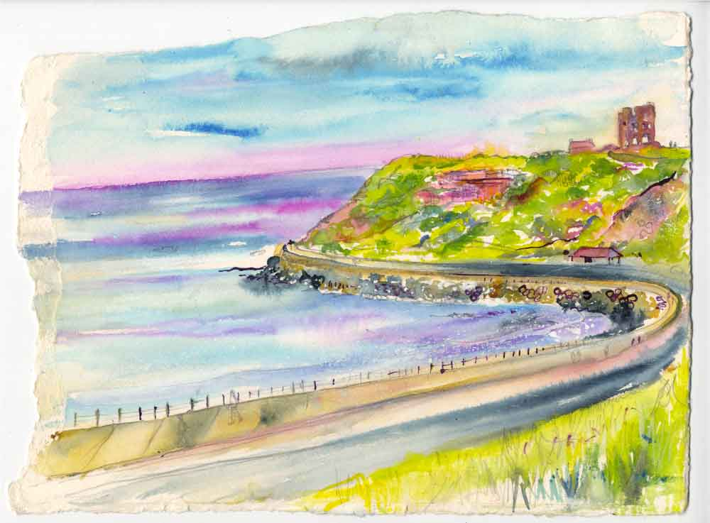 Scarborough Castle, unframed original painting