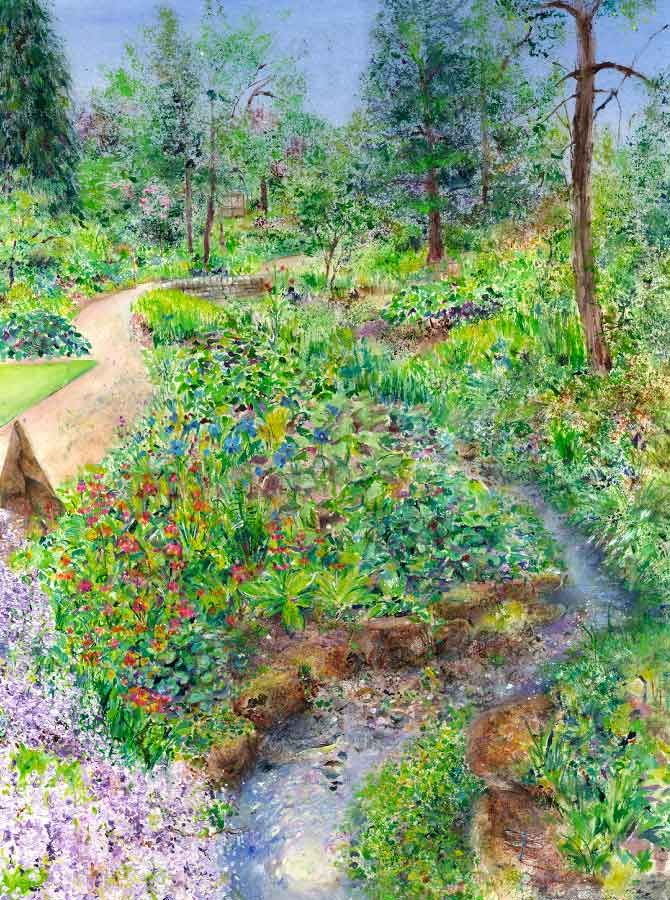 Stream-side at RHS Garden Harlow Carr, June, print