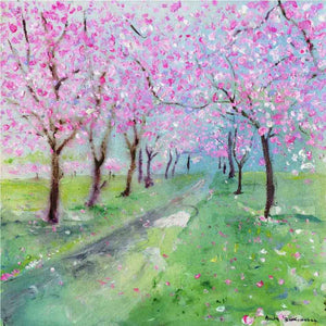 Study of Cherry Trees in Blossom, unframed original painting