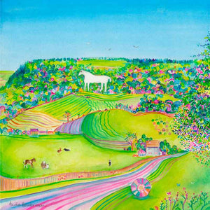 Summer Days at the Kilburn White Horse greetings card