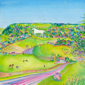 Summer Days at the Kilburn White Horse, unframed original painting