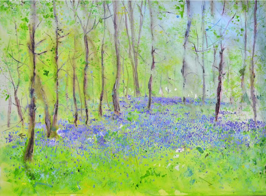 Sunlight and Bluebells, unframed original painting