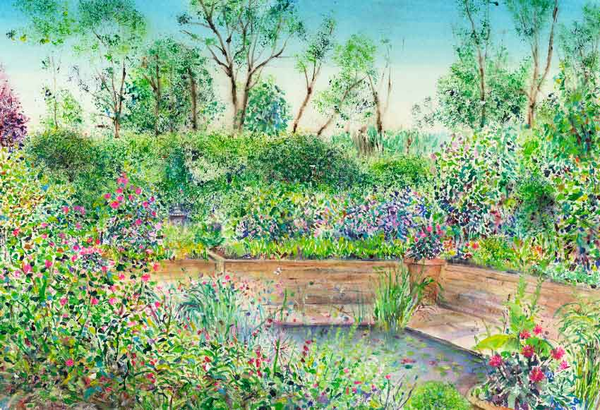 The Edwardian Garden at RHS Garden Harlow Carr original painting