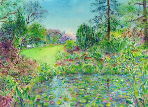 The pond at The Tarn at RHS Garden Harlow Carr original painting