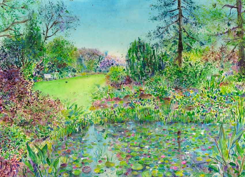 The pond at The Tarn at RHS Garden Harlow Carr print