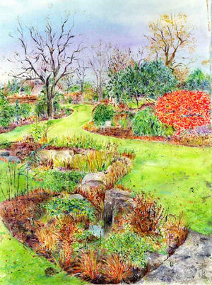 The Tarn at RHS Garden Harlow Carr, November, framed original