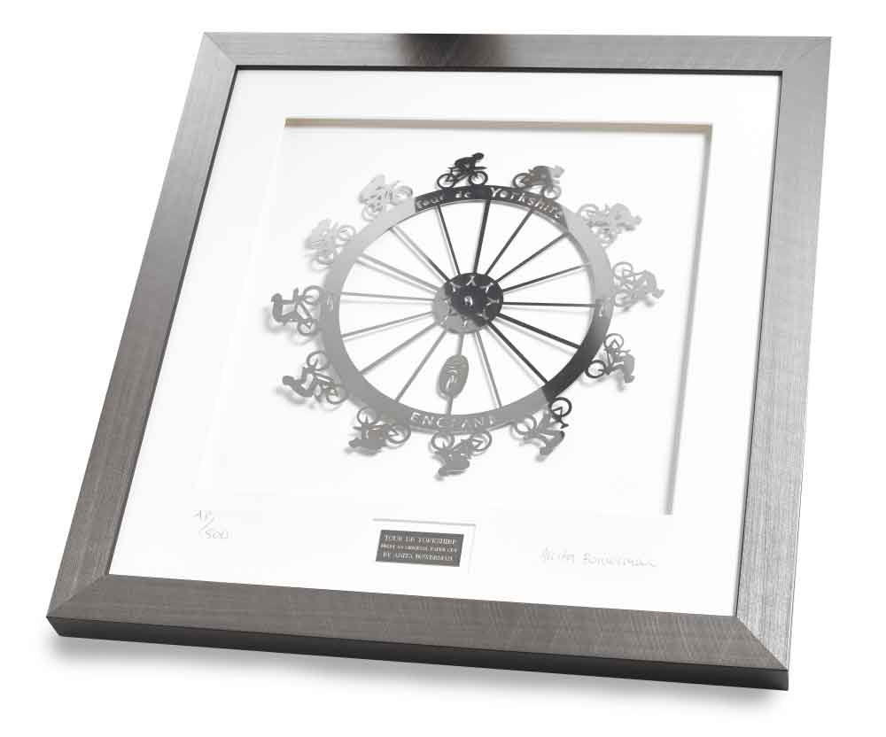 Tour de Yorkshire, framed limited edition stainless steel artwork
