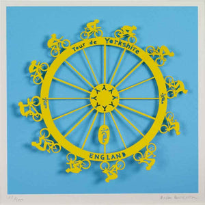 Tour de Yorkshire, unframed limited edition laser paper cut