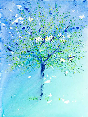 Turquoise Tree, unframed original painting