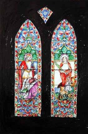 Vavasour Stained Glass Window in St Leonard's Chapel at Hazlewood Castle, unframed Giclée limited edition print