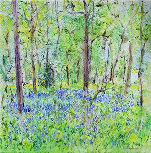 Wild Pink Flowers and Bluebells, unframed original painting