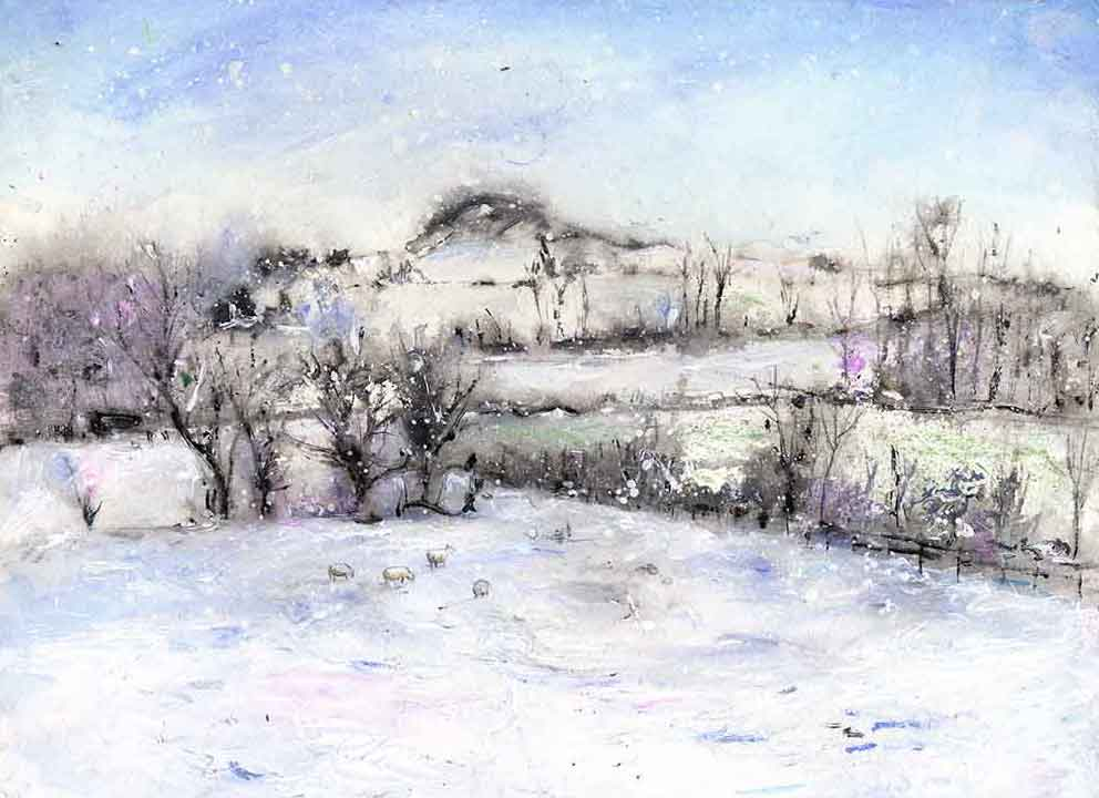 Wintry Almscliffe Crag, unframed Giclée limited edition print