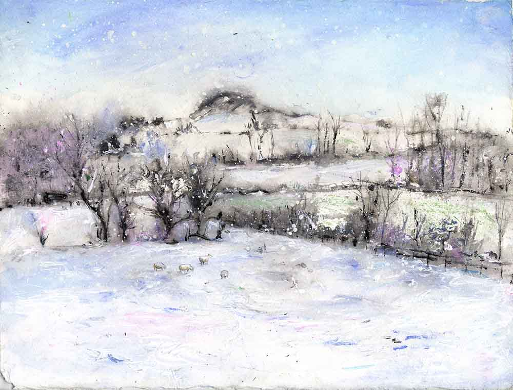 Wintry Almscliffe Crag, unframed original painting