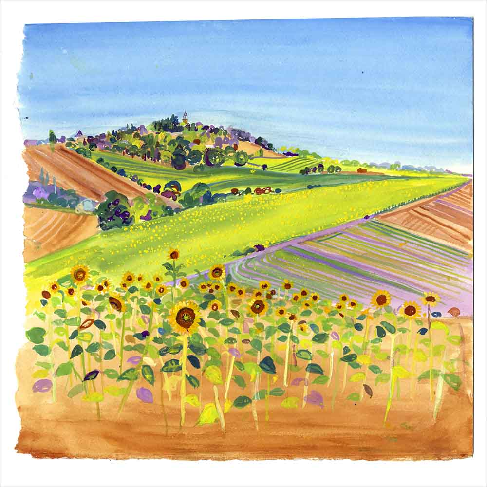Yellow Sunflowers in France, unframed giclée limited edition print