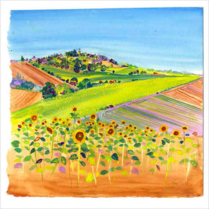 Yellow Sunflowers in France, unframed original painting
