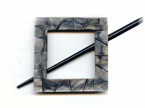 Black Shell Square Shawl Pin - Indigo Chase Specialties