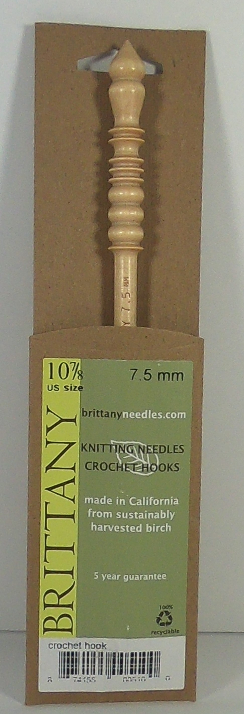 Crochet Hook - Brittany - Size 10 7/8 (7.5 MM) - Indigo Chase Specialties