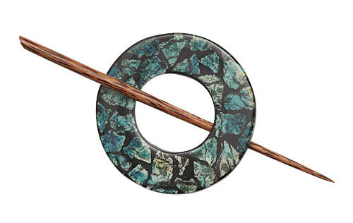 Teal Stone/Chips Shawl Pin