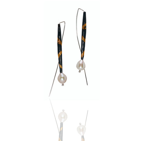 Inconnu Dangles - Blackened, textured, fine silver pods with gold detail on long ear wire with white pearl drops