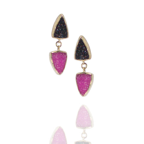 Cobalto Calcite (pink) & Black Quartz Drusy in 18k,SS Earrings