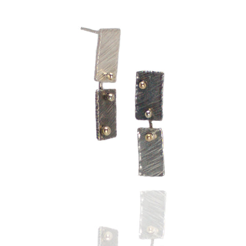 Singularity Dangle Earrings - two-up rectangles w/ 18k gold detail