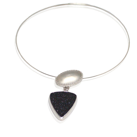 Black drusy, frosted quartz in sterling on neckring