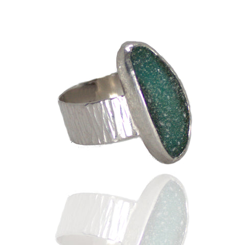 Sterling, Fine Silver & Long Teal Green Drusy Quartz - Size 9