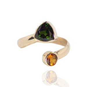 14k Rose,18k Yellow Gold Ring w Citrine/Chrome Diopside
