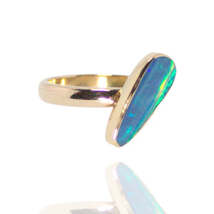 14k Rose , 18k Yellow gold Ring w Opal