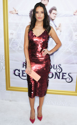 Chloe Bridges wears Cavanagh Baker on the red carpet to the premiere of the Righteous Gemstones