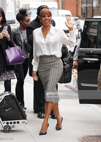 Holly Peete Wears Cavanagh Baker in NYC