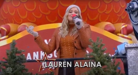 Lauren Alaina Thanksgiving Day Parade 2020 orange jacket Cavanagh Baker