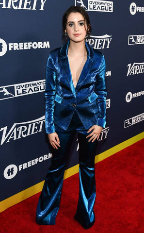 Actress Laura Marano wears Cavanagh Baker on the red carpet