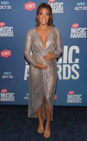 Mickey Guyton CMT Awards red carpet crystal gown Cavanagh Baker