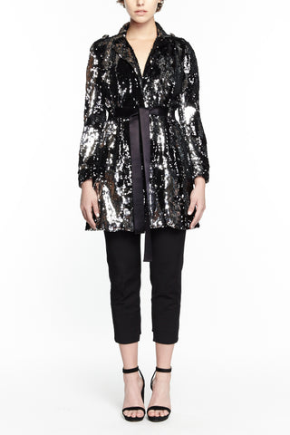 DARK AVA SEQUIN TRENCH COAT