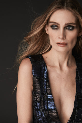 JULE DEEP V  SEQUIN AND BEADED DRESS