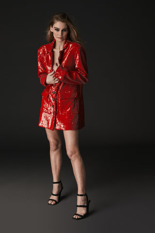 BOYFRIEND BLAZER RED SEQUIN
