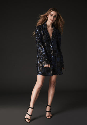 BOYFRIEND BLAZER BLUE BEADED SEQUIN