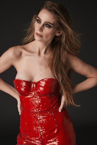 SERENA RED SEQUIN CORSET