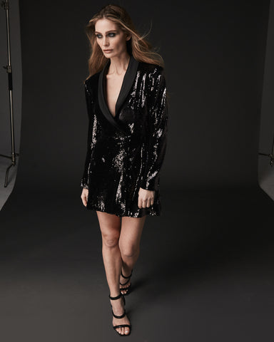 ASYMMETRICAL  SEQUIN BLAZER DRESS