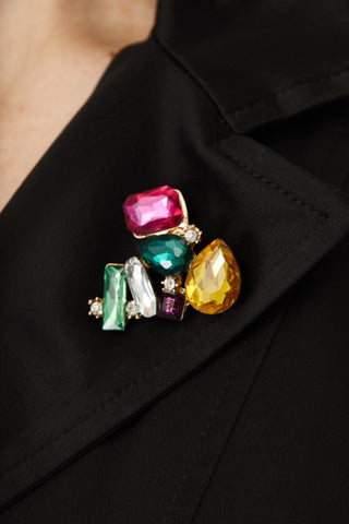 MULTICOLORED JEWEL CLUSTER  PIN,