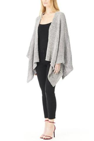 GREY LEATHER SHAWL, Outerwear