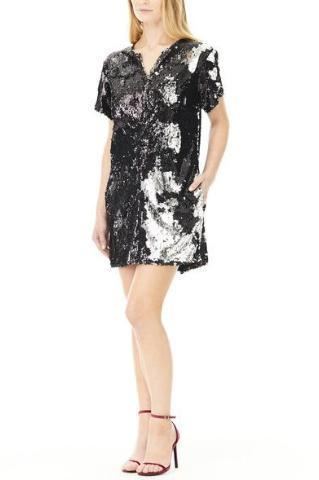 BLACK SEQUIN BECKY TEE DRESS, Dress