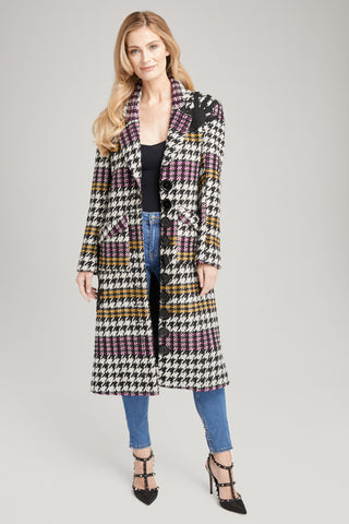 Jackie O Oversized Houndstooth Coat, Outerwear