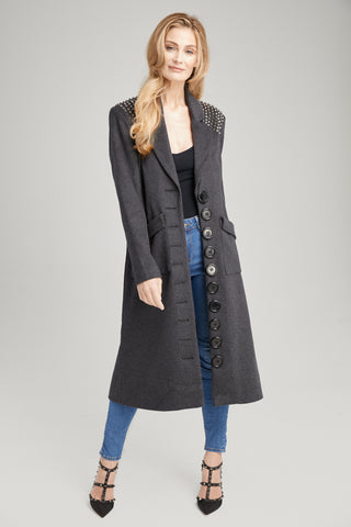 Jackie O Oversized Studded Coat, Outerwear