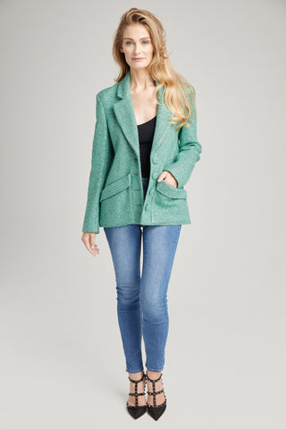 Jackie O Oversized Sea Foam Green Coat Short, Outerwear